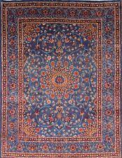 Breathtaking Class Floral Blue Color 8x11 Kashmar Persian Oriental Area Rug Wool