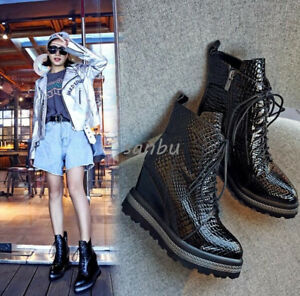 65ba6cf2f344 Womens Wedge Platform Heel Lifed Ankle Boots Shoes Lace Up Fashion ...