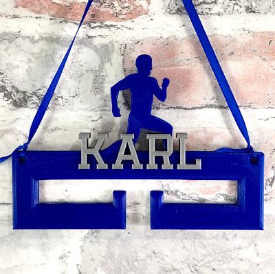 Personalised Running Runner Medal Hanger//Holder 3D Printed Athlete