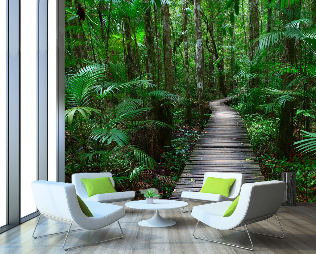 3D Lush Forest Wood Path 006 WandPapier Decal Dercor Home Kids Nursery Mural Home