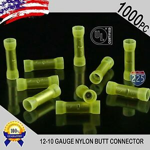 Wire Butt Connectors Yellow NYLON 12-10 AWG Gauge Car Audio Alarm GPS 25
