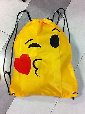 + Sacca Sport Faccine Bacio Smiley Smile Emoticon Zaino Borsa Fashion Bag Love