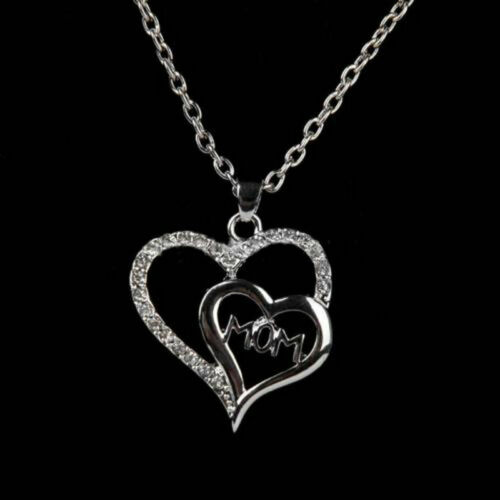 Mom Pendant Necklace Crystal Decor Mothers Day Present Women Jewelry Gift