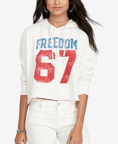 Denim Supply Ralph Lauren daMänner Cotton Graphic Hoodie Antique Cream Freedom