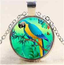 Blue And Gold Macaw Cabochon Glass Tibet Silver Chain Pendant Necklace