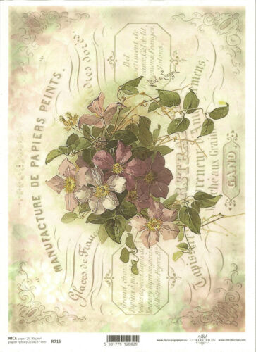 Rice Paper for Decoupage Scrapbooking Vintage Flowers Purple Clematis ITD R716