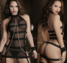 European and American perspective sexy black dress bandage dress chains M S065