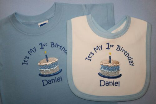 choice of colour Personalised It/'s My 1st first Birthday T-shirt and bib set