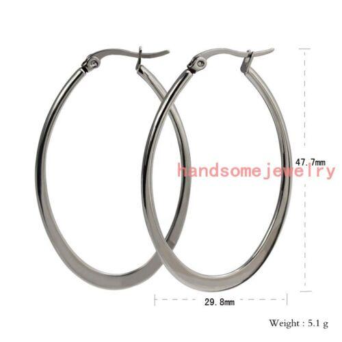 Fashion 316 L en acier inoxydable Silver Big Ovale Boucles D/'Oreilles Créoles Femme Filles Bijoux