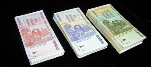 20 Billion  AA AB 2008 3 currency bundles 300 Zimbabwe Banknotes-100 x 5 10