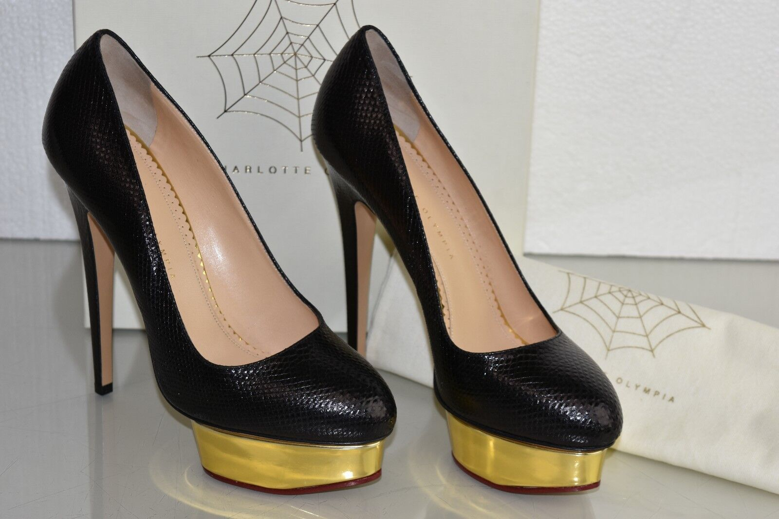 1295 New Charlotte Olympia DOLLY EXOTIC Karung Platform Black Pump shoes 39 41
