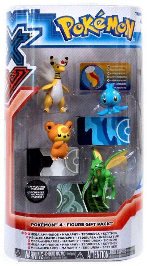 Pokemon XY Mega Ampharos, Manaphy, Teddiursa & Scyther Mini Figure 4-Pack