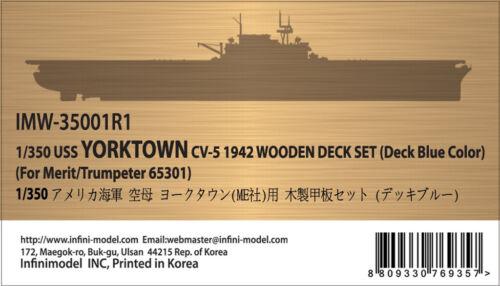 DECK BLUE 1//350 INFINI MODEL USS YORKTOWN CV-5 1942 WOODEN DECK SET