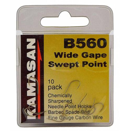KAMASAN B560 WIDE GAPE SWEPT POINT FISHING HOOK 10 PCS SIZE 14//16//18
