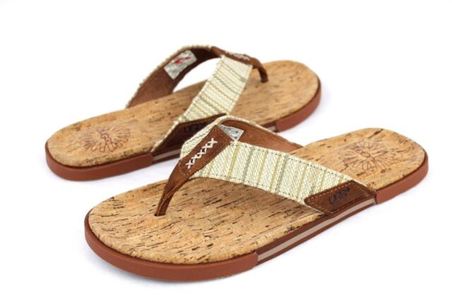 5c305085be7 UGG Braven Diego Leather Cork Men s Flip Flops Thongs Tamarind Size 7 US  for sale online