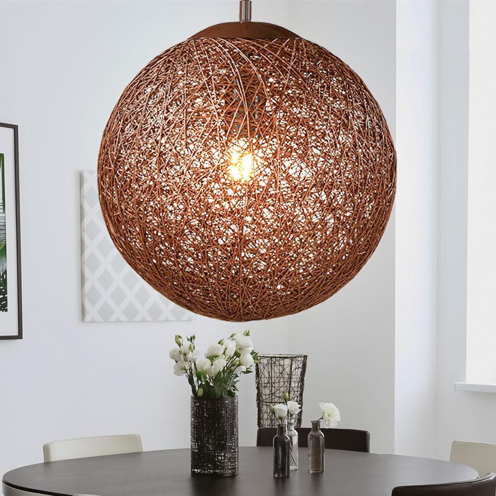 Plafonnier Lampe Chambre Suspension Boule éclairage salle à rotin ...