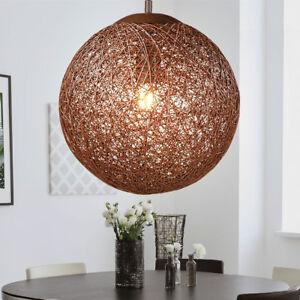 Détails sur Design Suspendu Lampe Plafond Sommeil Chambre Rotin Tresse  Boule Pendule Lampe