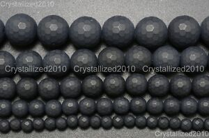 Natural-Matte-Black-Onyx-Gemstones-Faceted-Round-Beads-4mm-6mm-8mm-10mm-15-5