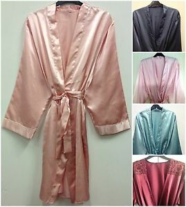 Womens Satin Dressing Gown Robe Uk Sizes 8-24 Various Colours  239feb9a8