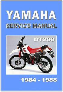 yamaha workshop manual dt200 1984 1985 1986 1987 1988 maintenance rh ebay com yamaha dt 200 service manual pdf yamaha dt 200 wr service manual