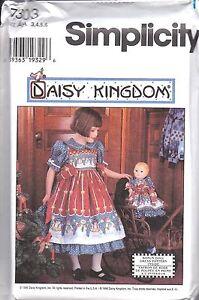 UNCUT-Vintage-Simplicity-Sewing-Pattern-Girls-Daisy-Kingdom-Dress-Pinafore-7303