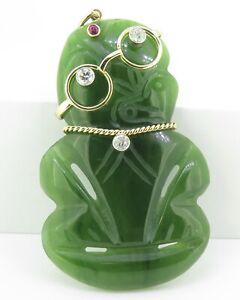Vintage-Nephrite-Jade-Hei-Tiki-18K-Gold-0-66ct-Diamond-Set-Pendant-Val-5955