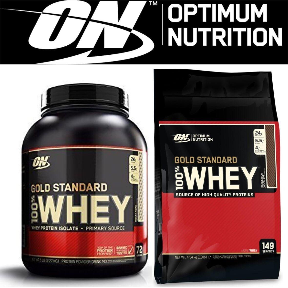 Optimum Nutrition 100% Gold Standard Whey Protein Powder - All Größes & Flavours