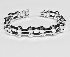 Mens 11.5 mm Wide Bike Chain Style Bracelet Stainless Steel
