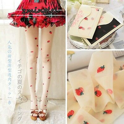 Cute Womens Thin Lolita Strawberry Fruit Silk Tights Pantyhose 10D White&Black