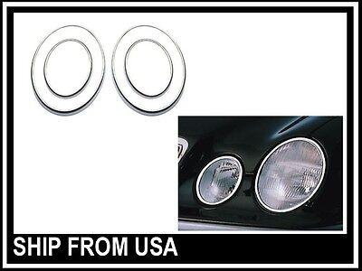 E-CLASS 96-02 W210 E320 E500 E430 E55 CHROME HEADLIGHT TRIMS MOLDING LAMP RINGS