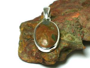 Rainforest-JASPER-Sterling-Silver-925-Gemstone-PENDANT-Gift-Boxed
