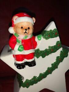 Vtg-Christmas-Napco-Star-Santa-Bear-Ceramic-Planter-Candy-Cane-Holder