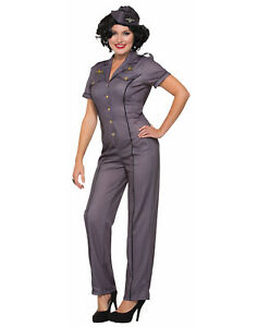 Image is loading 1940S-Air-Force-Anna-Womens-Adult-Military-Halloween-  sc 1 st  eBay & 1940S Air Force Anna Womens Adult Military Halloween Costume | eBay