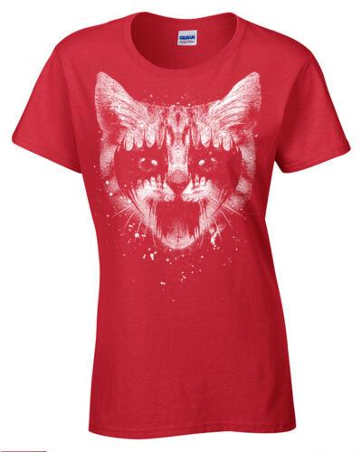 Metall Kitty T-Shirt Damen Gotik Katze Rock Punk