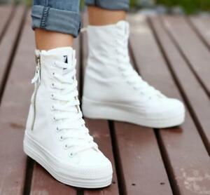 Women-039-s-Lace-Up-Flat-High-Top-Platform-Ankle-Boots-Canvas-Sneakers-Casual-Shoes