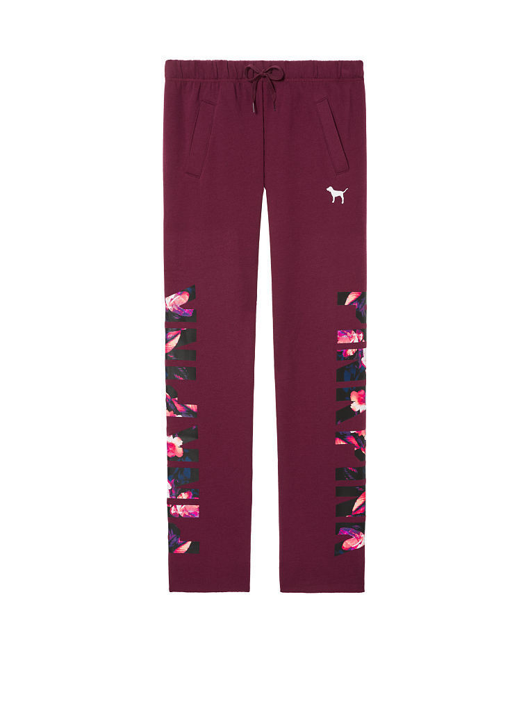 Victorias Secret Pink GRAPHIC TROPICAL Slouchy Boyfriend Pant Sweatpants NWT M