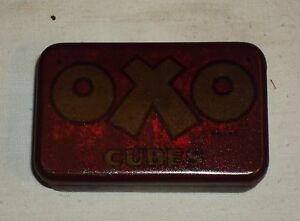 VINTAGE Old OXO CUBES ORIGINAL LITHO TIN ADVERTISING BOX Rare