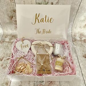 Details About Luxury Personalised The Bride To Be Gift Box Hamper Filled Rustic Shabby Chic