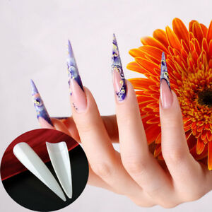 Image Is Loading 24PCS Salon Long Stiletto Half Cover Pointy Fake