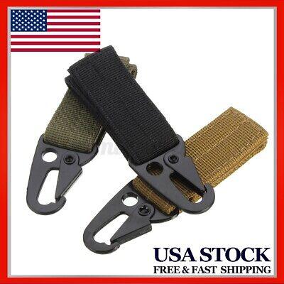 Tactical Molle Hanging Belt Key Hook Webbing Buckle Strap Carabiner Clip