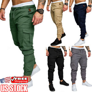 Men-039-s-Elasticated-Waist-Cargo-Combat-Trousers-Sports-Casual-Pencil-Jogger-Pants