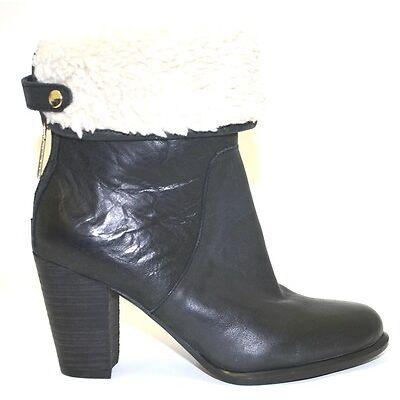 Women's Shoes Tommy Hilfiger KATELYNN Short Boot Faux Fur Back Zip Leather BLACK