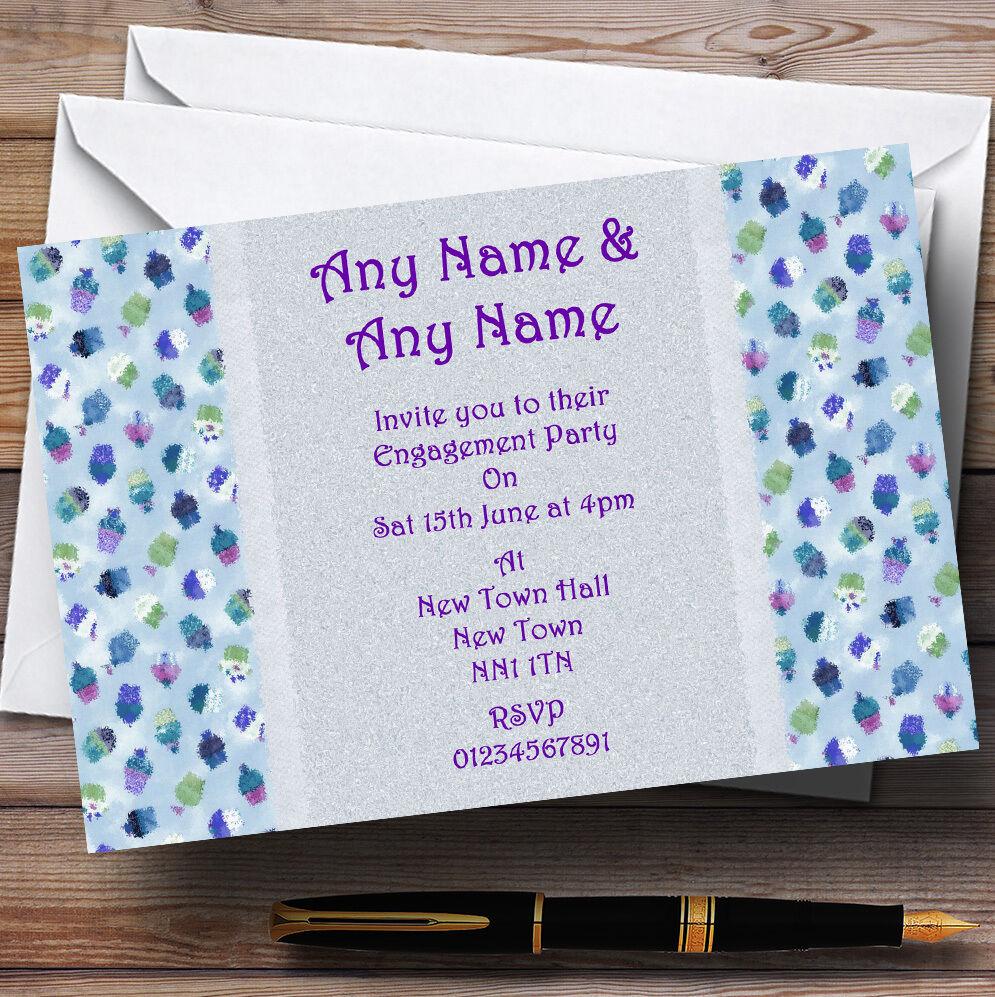Azul púrpuraa Cupcake Fiesta de Compromiso Personalizado Invitaciones