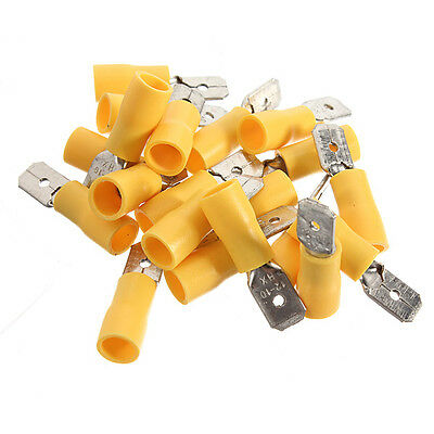 20pcs Insulated Yellow Male Spade Connector Electrical Crimp Terminal 4-6.0mm²