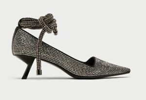 c3758fd306d Image is loading ZARA-SILVER-STUDDED-SHINY-COURT-STRAPPY-SHOES-REF-