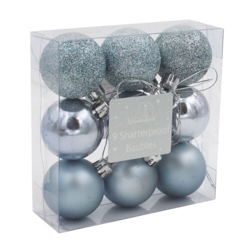 Incassable Arbre de Noël Décoration-Pack de 9 40 mm Boules-Choisir Couleur