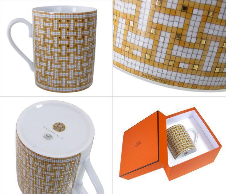 HERMES Porcelaine Tasse Mosaicque Van bovins 24 vaisselle Ornement auth Tea