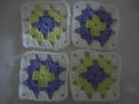 20-4 Granny Squares Blocks 4 Afghan, Afghanslavender, Yellow & Whitesoft