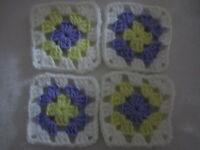 20-4 Granny Squares Blocks 4 Afghan, Afghanslavender, Yellow & Whitesoft