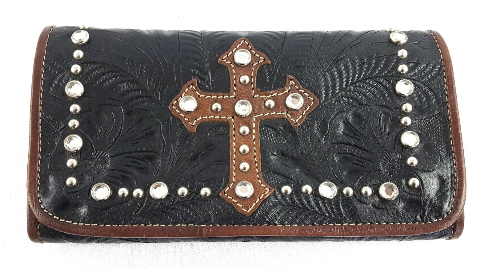 Leather Brown Tooled Leather Checkbook Wallet Cross Organizer Bling